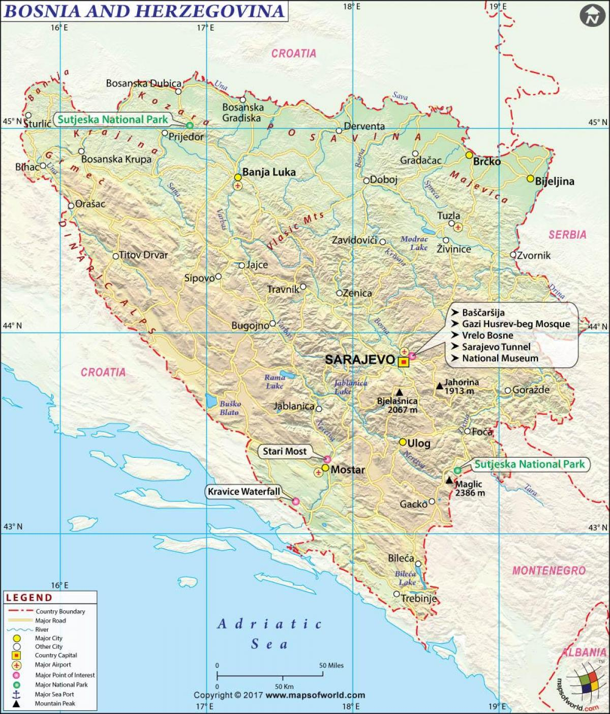 Map of Bosnia country