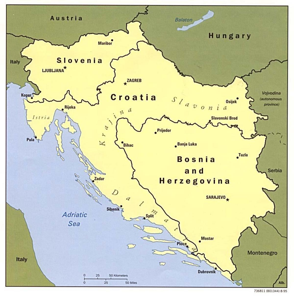 map of Bosnia and Herzegovina and surrounding countries
